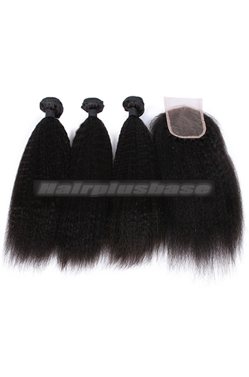 10-26 Inch Kinky Straight 6A Virgin Human Hair A Lace Closure With 3 Bundles Deal