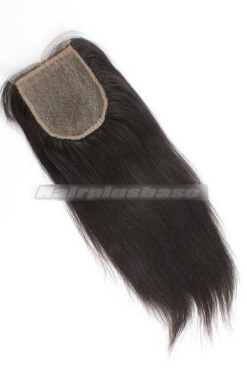 Yaki Straight Indian Virgin Hair Silk Base Closure 4x4 Inches