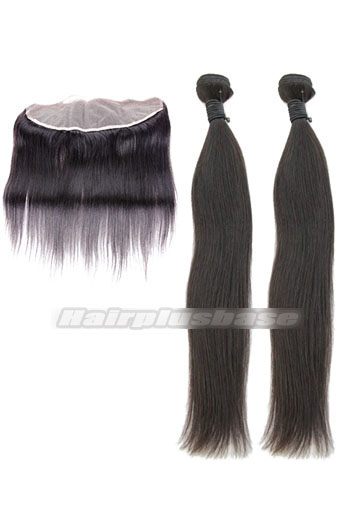 Silky Straight 6A Virgin Hair Lace Frontal with 2 Weaves Bundles Deal