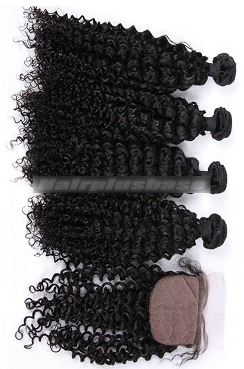 Water Wave Virgin 6A Human Hair A Silk Top Closure With 4 Bundles Deal