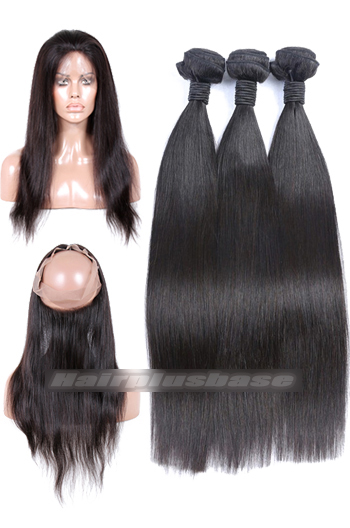 Natural Straight 6A Virgin Hair 360°Circular Lace Frontal with 3 Weaves Bundles Deal