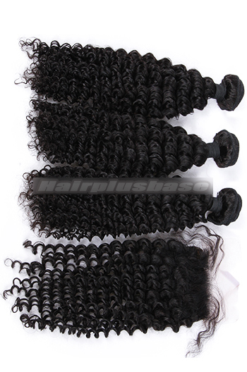 Deep Wave Virgin 6A Human Hair Extension A Silk Base Closure with 3 Bundles Deal