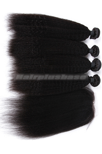 10-26 Inch Kinky Straight Virgin 6A Human Hair Extension A Silk Base Closure with 3 Bundles Deal