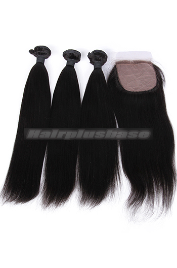 10-26 Inch Light Yaki Virgin 6A Human Hair Extension A Silk Base Closure with 3 Bundles Deal
