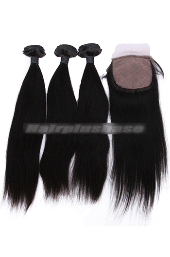 10-26 Inch Straight Virgin 6A Human Hair Extension A Silk Base Closure with 3 Bundles Deal