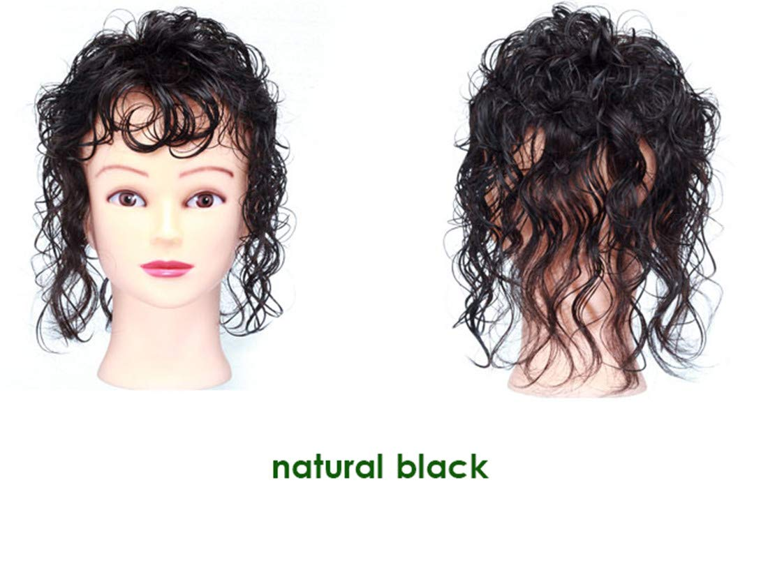 Invisible Human Hair Topper with Bangs for Women, Curly Wavy Crown Volume Hairpiece Clip in 2