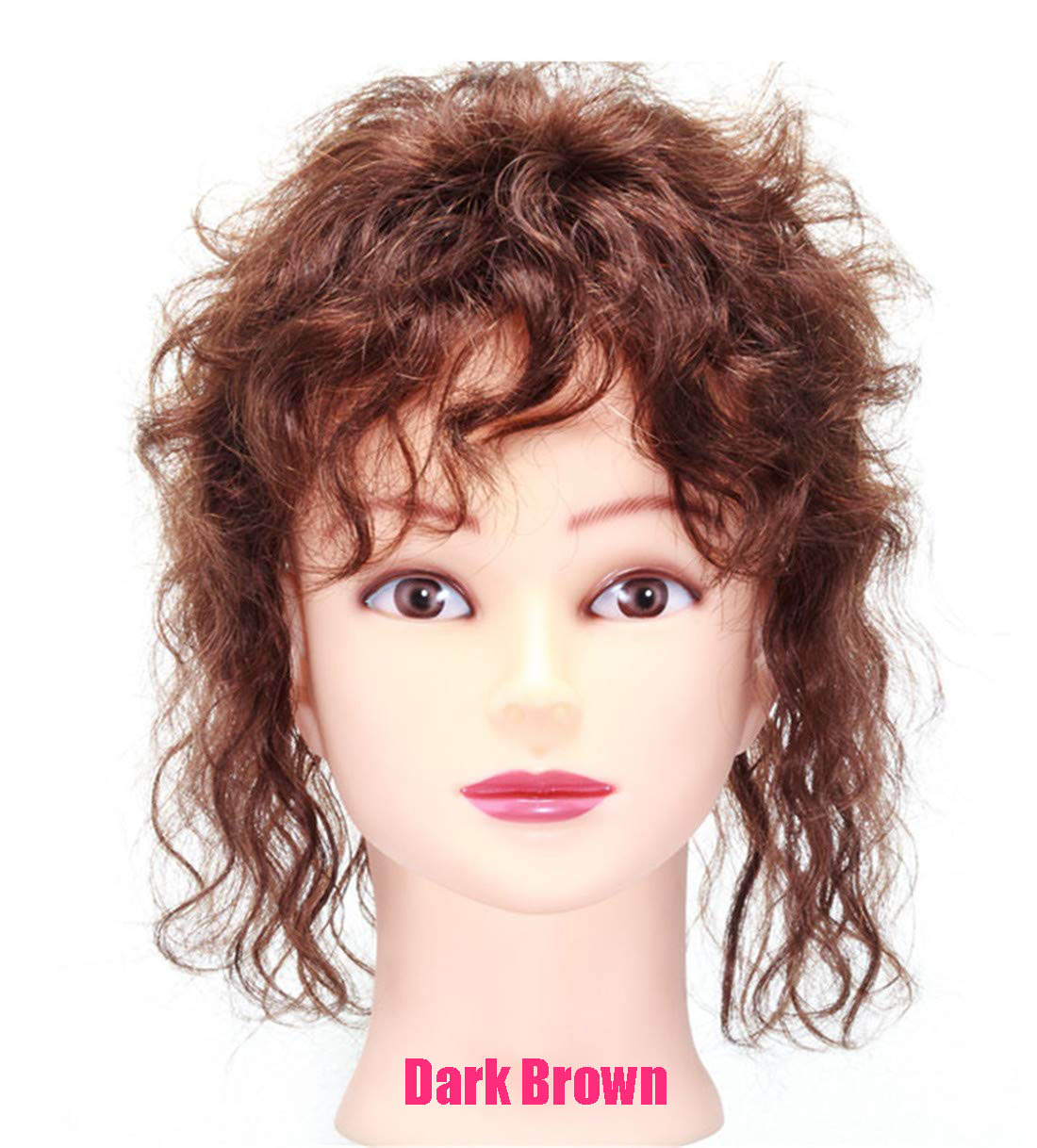 Invisible Human Hair Topper with Bangs for Women, Curly Wavy Crown Volume Hairpiece Clip in 3