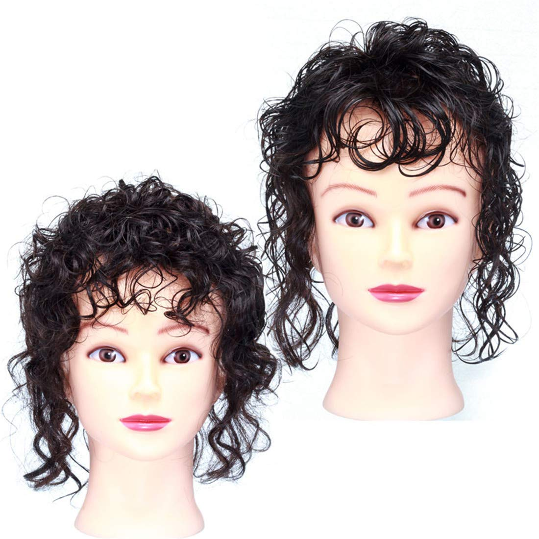 Invisible Human Hair Topper with Bangs for Women, Curly Wavy Crown Volume Hairpiece Clip in 7
