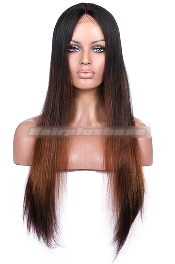 Jennifer Hudson Long Sleek Luxury Brazilian Virgin Hair Black With Blonde Highlights Celebrity Lace Wigs