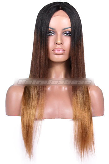 Luxury Yaki Straight Keke Palmer Three Toned Ombre Brazilian Virgin Hair Celebrity Lace Wigs