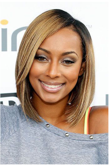 Keri Hilson Shoulder Length Angled Bob Ombre Blonde Celebrity Lace Wigs