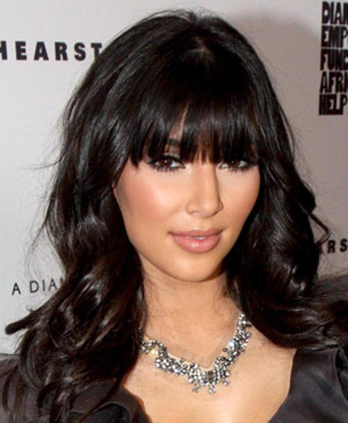 Kim Kardashian Inspired Full Bangs Big Wave Lace Front Wigs Indian Remy Hair 0