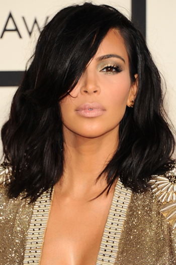 Kim Kardashian Shoulder Length Haircut Messy Bob Human Hair Lace Wigs