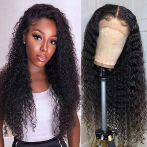 Kinky Curly 180% Density 4x4 Lace Front Wigs Pre-Plucked With Baby Hair
