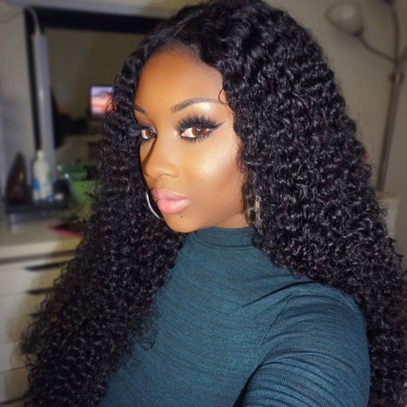 Kinky Curly Glueless Lace Front Wigs Brazilian Virgin Human Hair 0