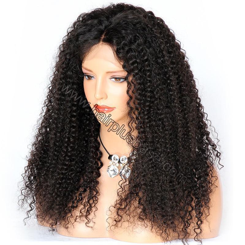 Kinky Curly Glueless Lace Front Wigs Brazilian Virgin Human Hair 2