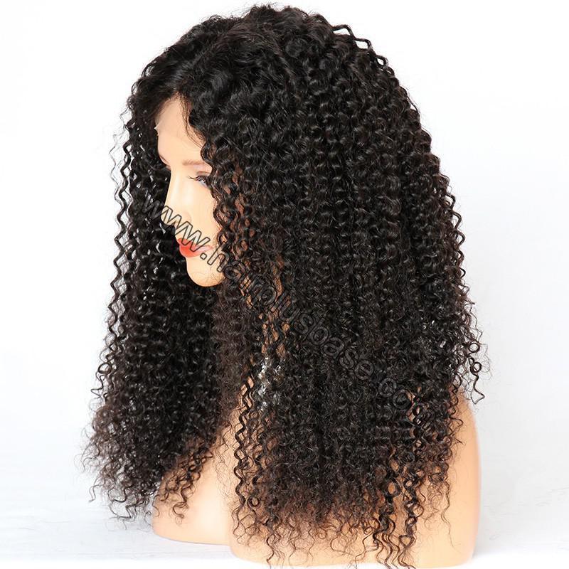 Kinky Curly Glueless Lace Front Wigs Brazilian Virgin Human Hair 3