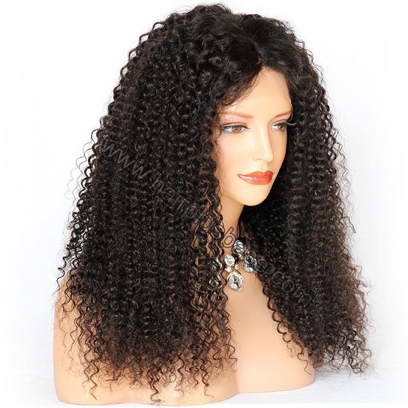 Kinky Curly Glueless Lace Front Wigs Brazilian Virgin Human Hair 4