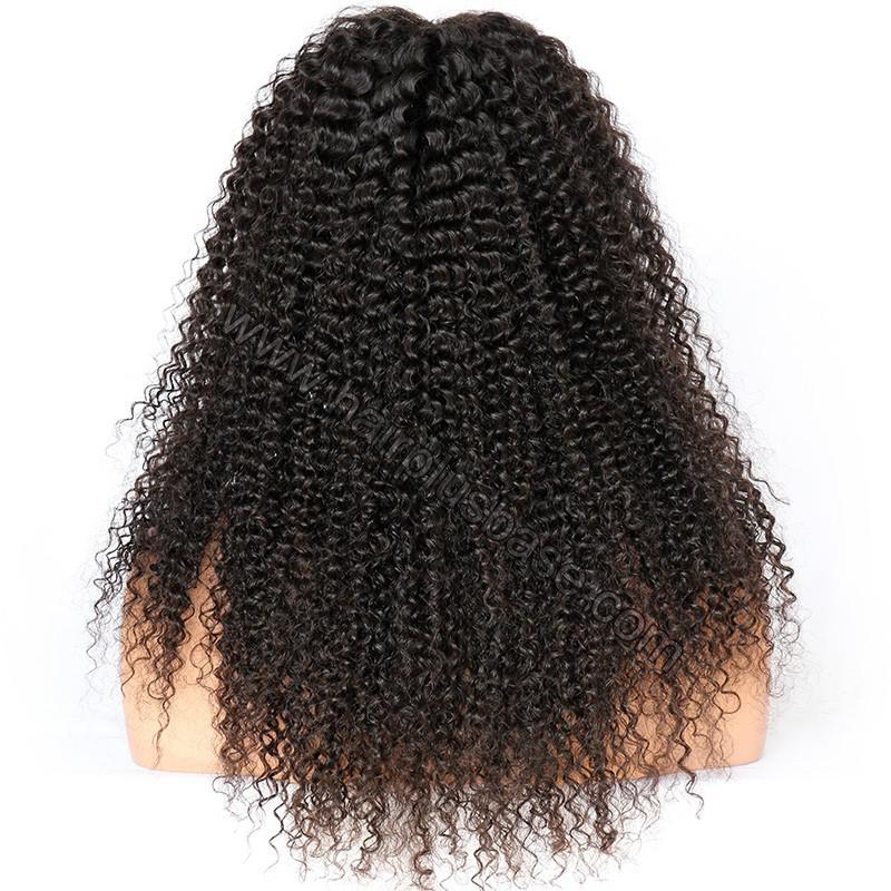 Kinky Curly Glueless Lace Front Wigs Brazilian Virgin Human Hair 5