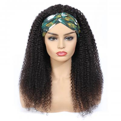Kinky Curly Headband Wig Human Hair Wigs For Black Women Natural Color