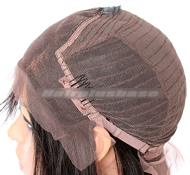 """Indian Remy Hair Kinky Straight,4.5"""" Super Deep C Side Part Lace Front Wigs"""