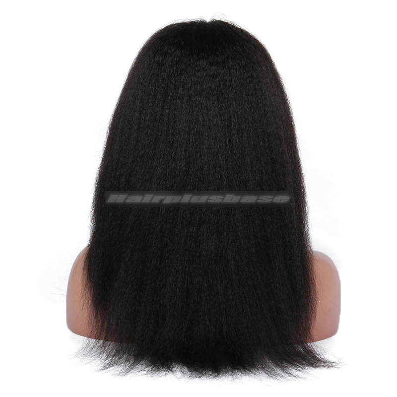 1B# 16inches Kinky Straight Indian Remy Hair U Part Wigs