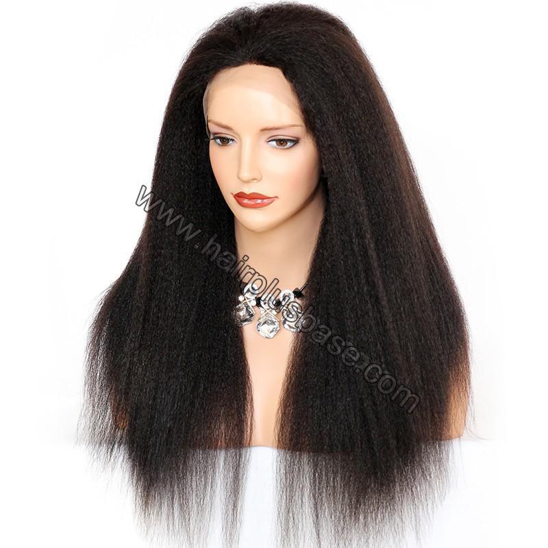 Kinky Straight Lace Front Wigs 100% Brazilian Virgin Human Hair 2