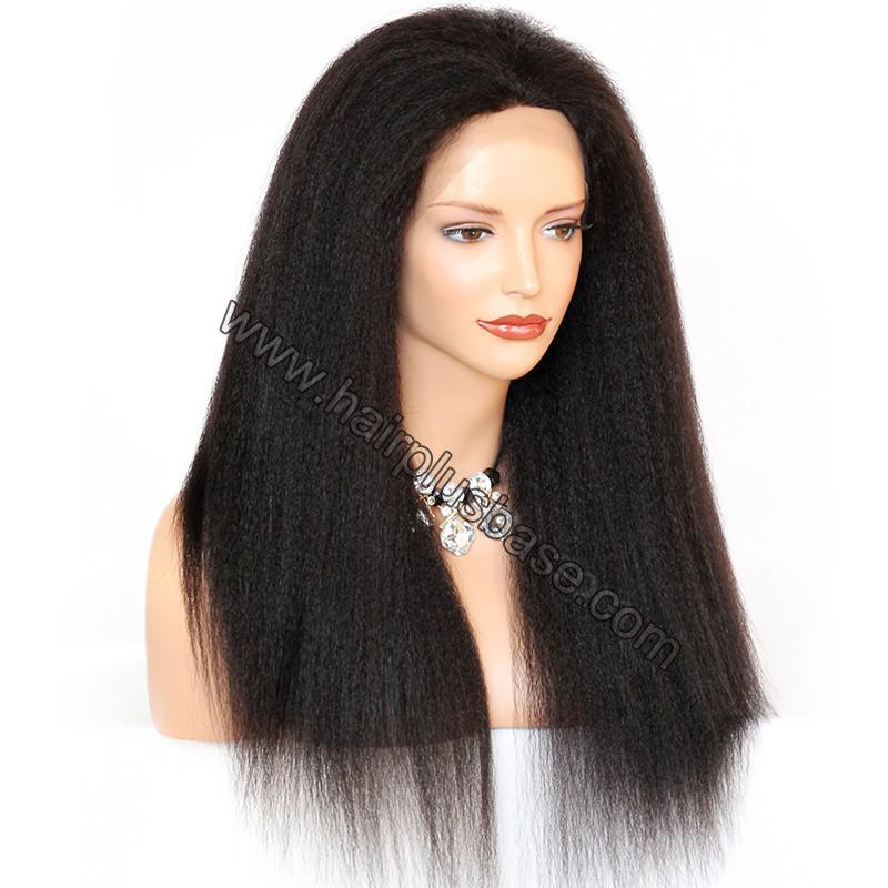 Kinky Straight Lace Front Wigs 100% Brazilian Virgin Human Hair 4
