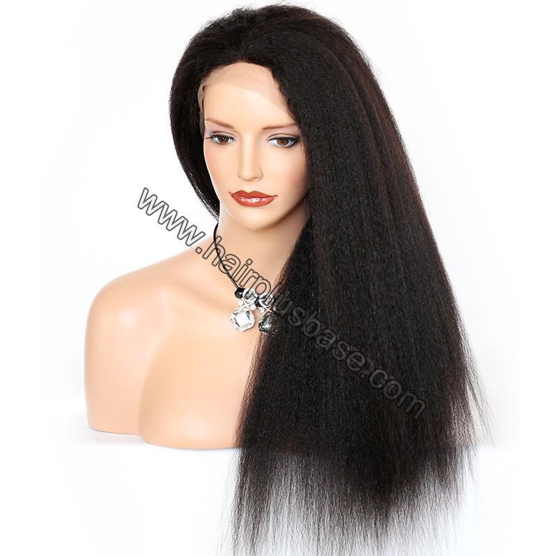 Kinky Straight Lace Front Wigs 100% Brazilian Virgin Human Hair 5