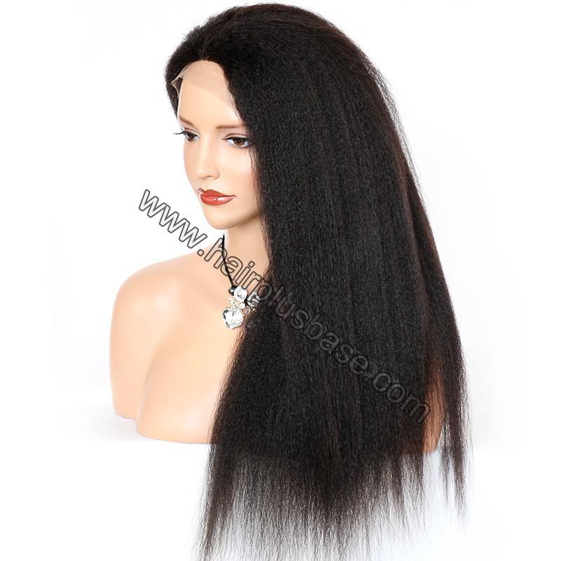 Kinky Straight Lace Front Wigs 100% Brazilian Virgin Human Hair 6