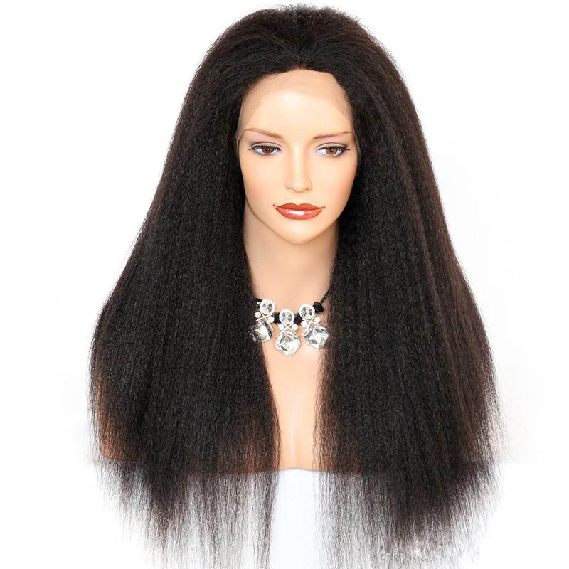 Kinky Straight Lace Front Wigs Indian Remy Hair 0