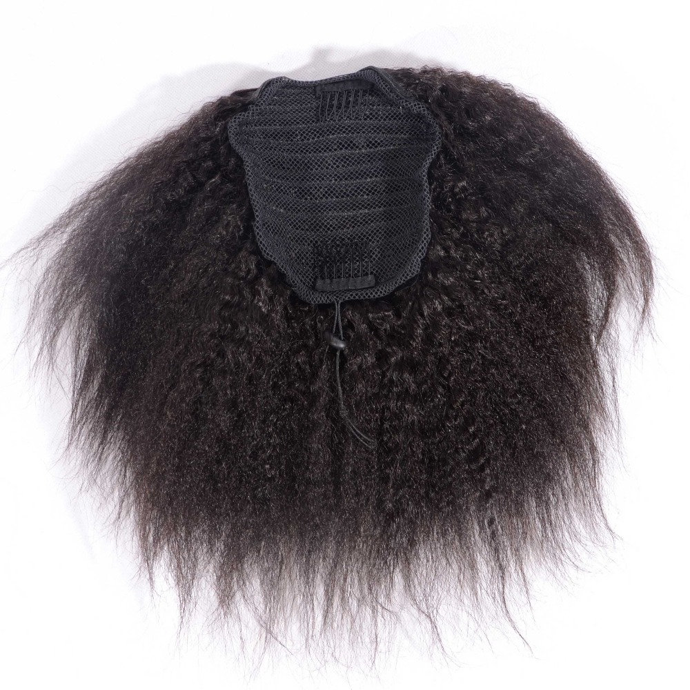 Kinky Straight Ponytail Human Hair Drawstring Ponytail Extensions 3