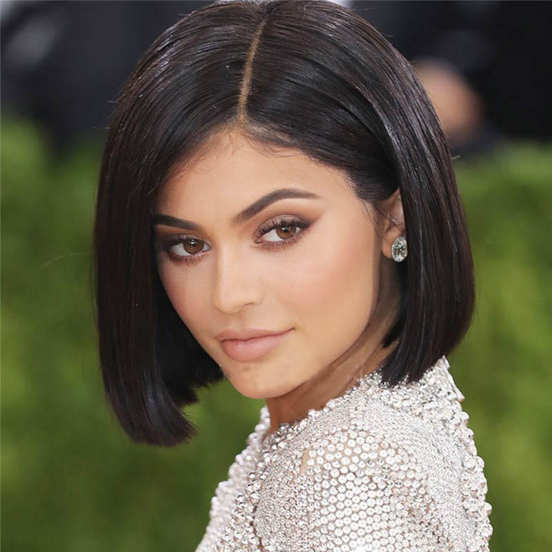 Kylie Jenner Style Glueless Lace Front Wigs Indian Remy Hair Short  Bob Wig Yaki Straight 0