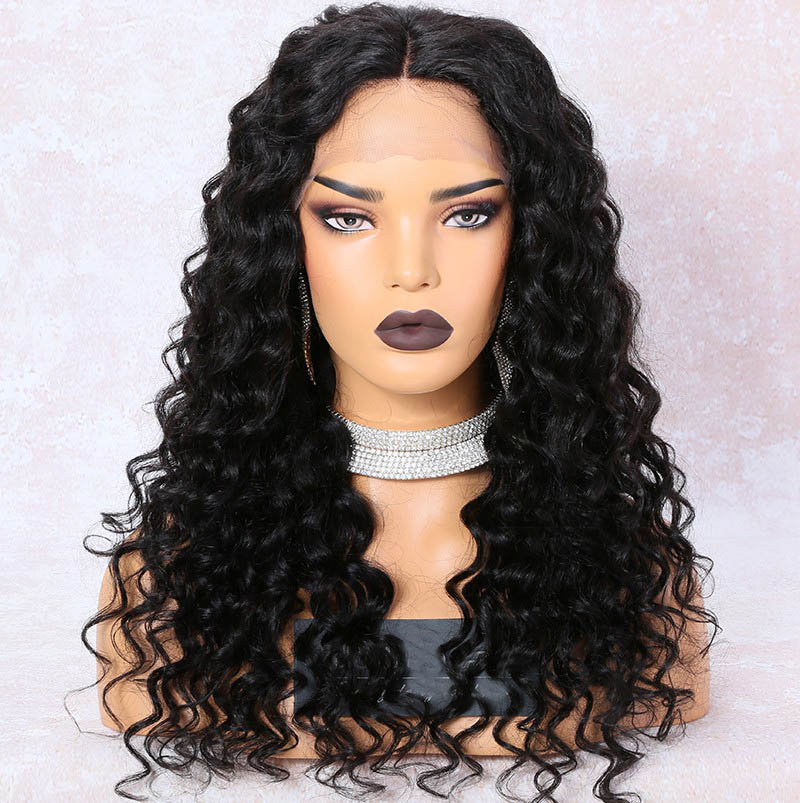 Lace Front Wigs Indian Remy Hair, Curly Middle Part Lace Frontal Wig, 150% Density, Color #1B, Medium Cap Size 0
