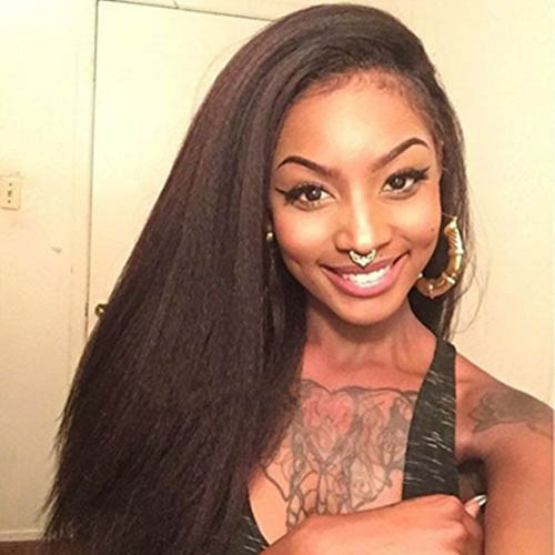 Lace Front Wigs Indian Remy Hair Italian Yaki Straight 0
