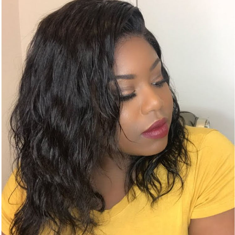 Lace Front Wigs Indian Remy Hair Natural Wave Short Bob Wig 0