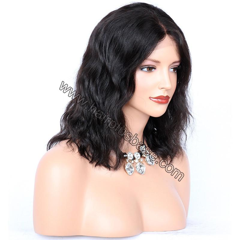 Lace Front Wigs Indian Remy Hair Natural Wave Short Bob Wig 3