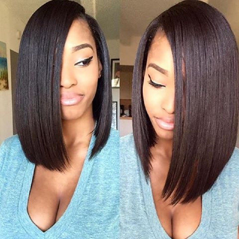 Lace Front Wigs Indian Remy Hair Straight Asymmetrical Bob Wig #2 Color 0