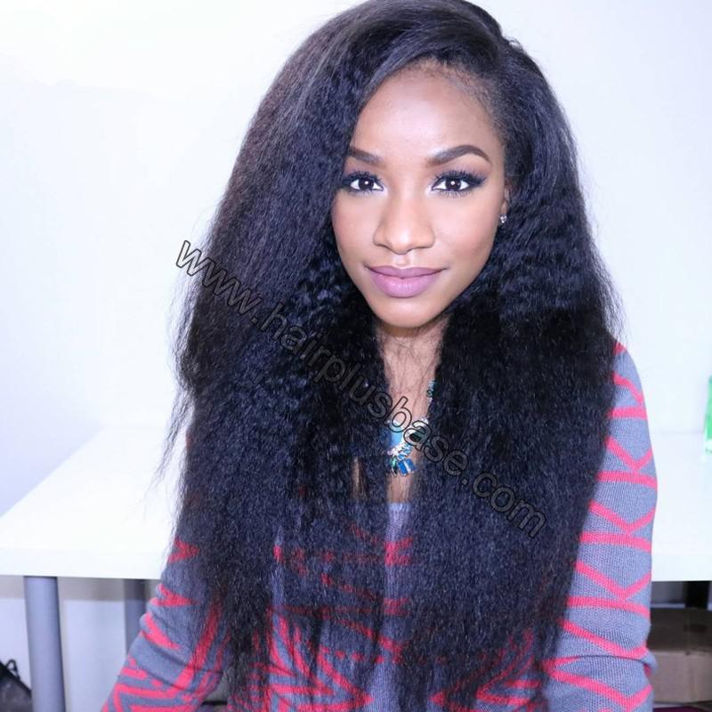 Lace Front Wigs Peruvian Virgin Human Hair Kinky Straight 0