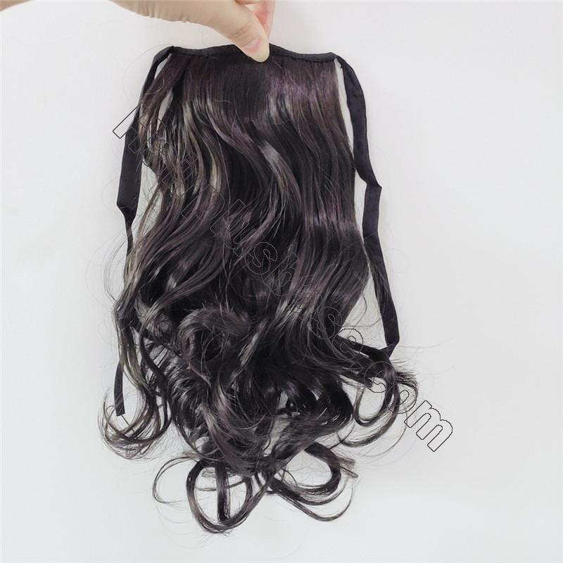 Lace/Ribbon Ponytail Extension For Kids Human Hair Curly 2