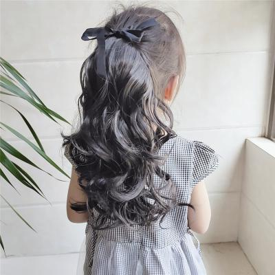 Lace/Ribbon Ponytail Extension For Kids Human Hair Curly