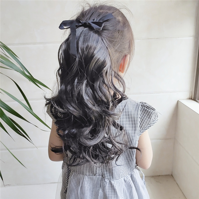 Lace/Ribbon Ponytail Extension For Kids Human Hair Curly 6