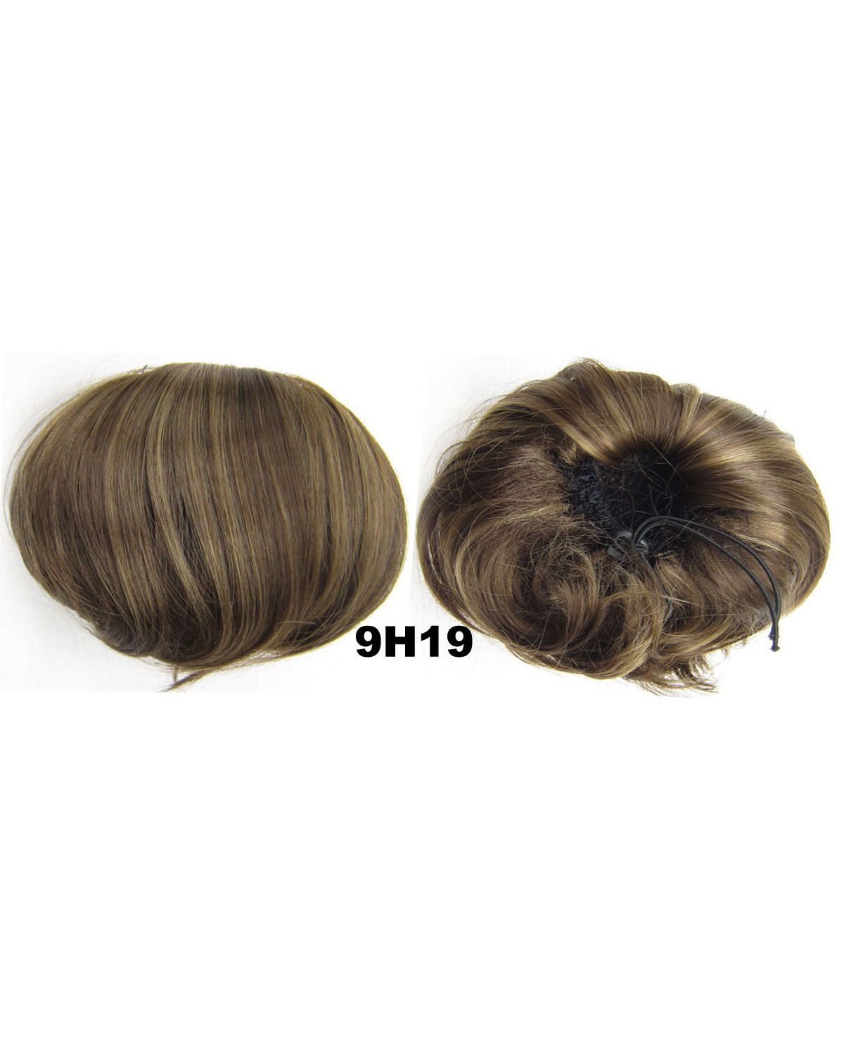 Ladies Charismatic Straight Short Hair Buns Drawstring Synthetic Hair Extension Bride Scrunchies 9H19