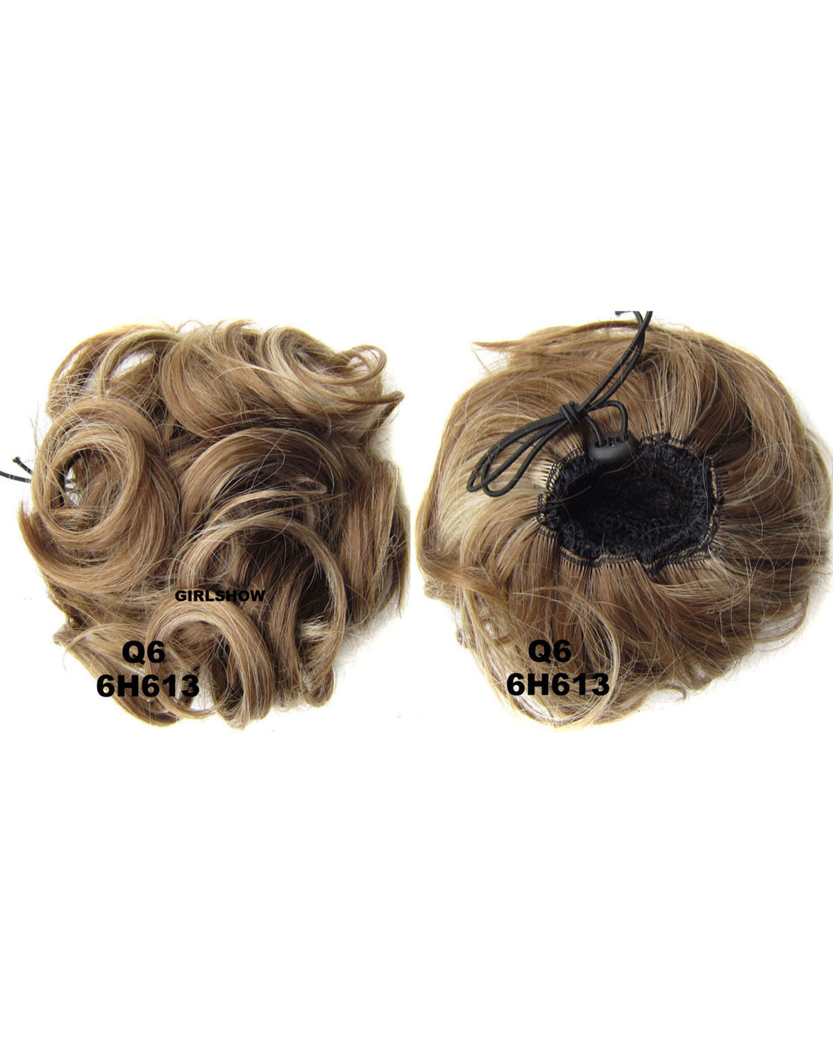 Ladies Clean and Bright Curly and Short Hair Buns Drawstring Synthetic Hair Extension Bride Scrunchies 6H613
