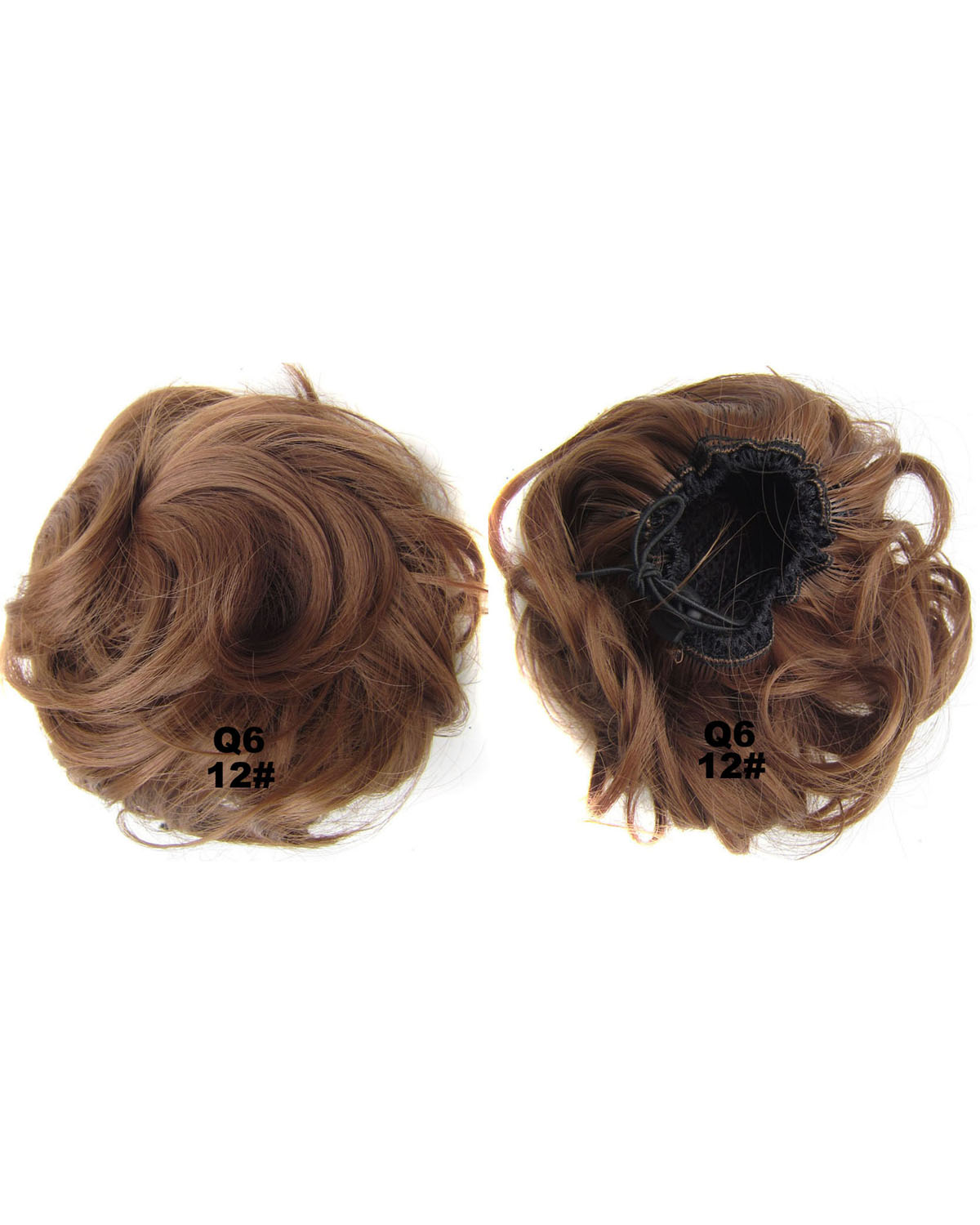 Ladies  Clean and  Popular  Curly and Short Hair Buns Drawstring Synthetic Hair Extension Bride Scrunchies  12#