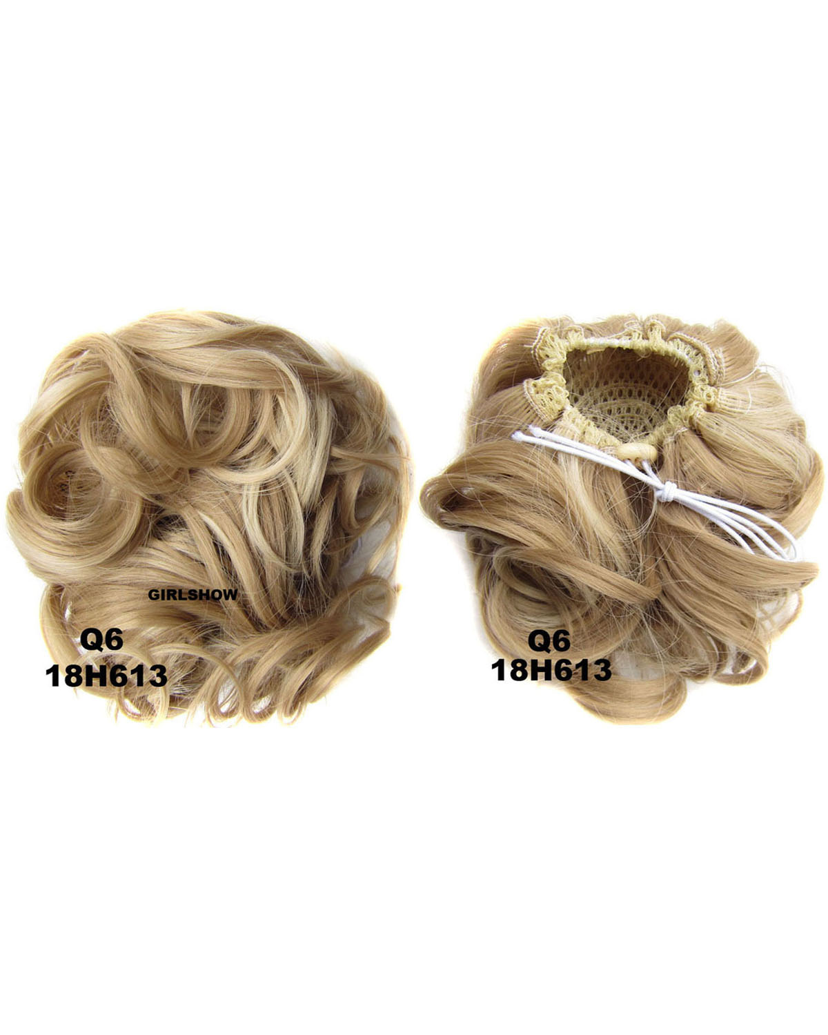 Ladies Exquisite and Clean Curly and Short Hair Buns Drawstring Synthetic Hair Extension Bride Scrunchies 18H613