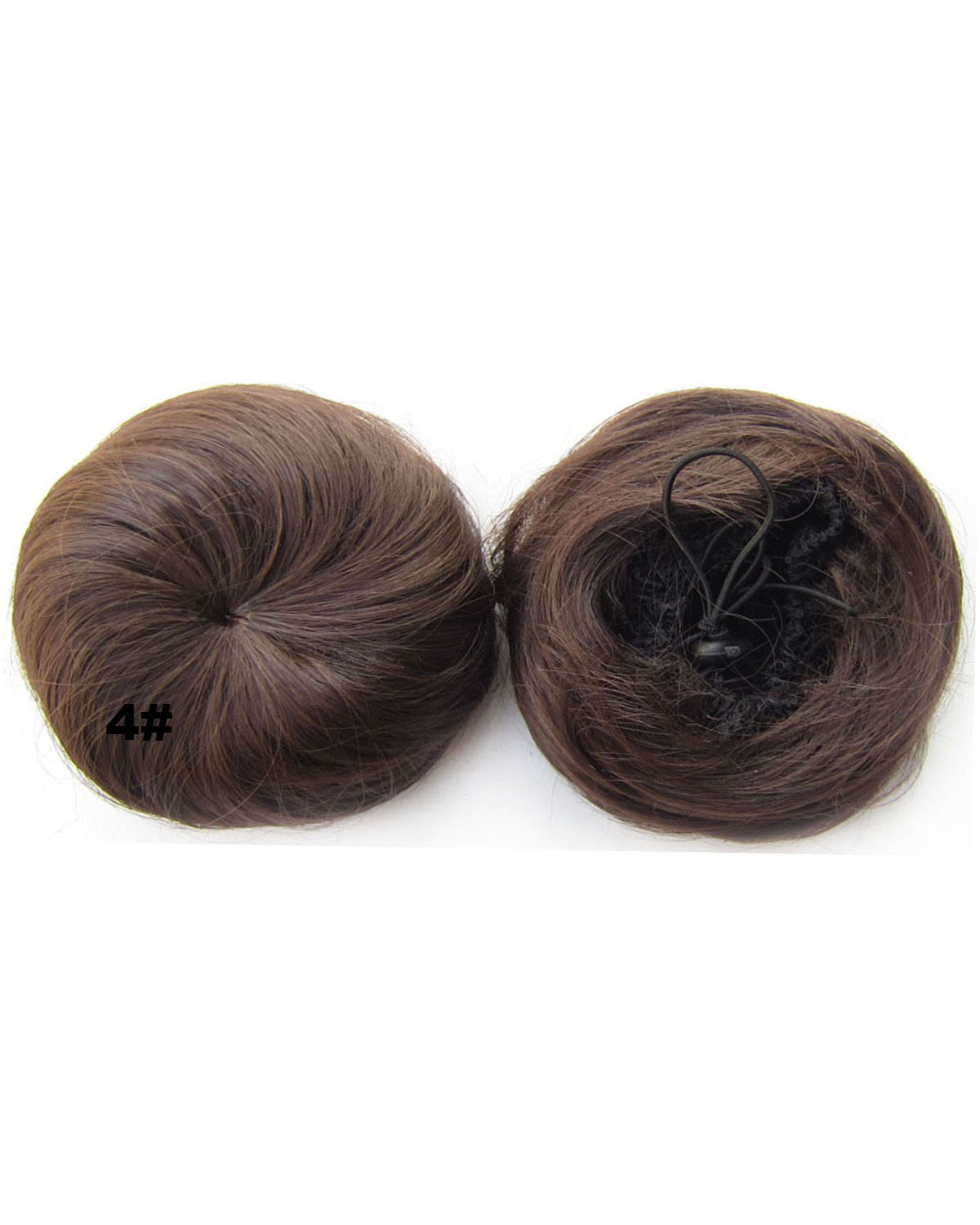 Ladies Fascinating Straight Short Hair Buns Drawstring Synthetic Hair Extension Bride Scrunchies 4#