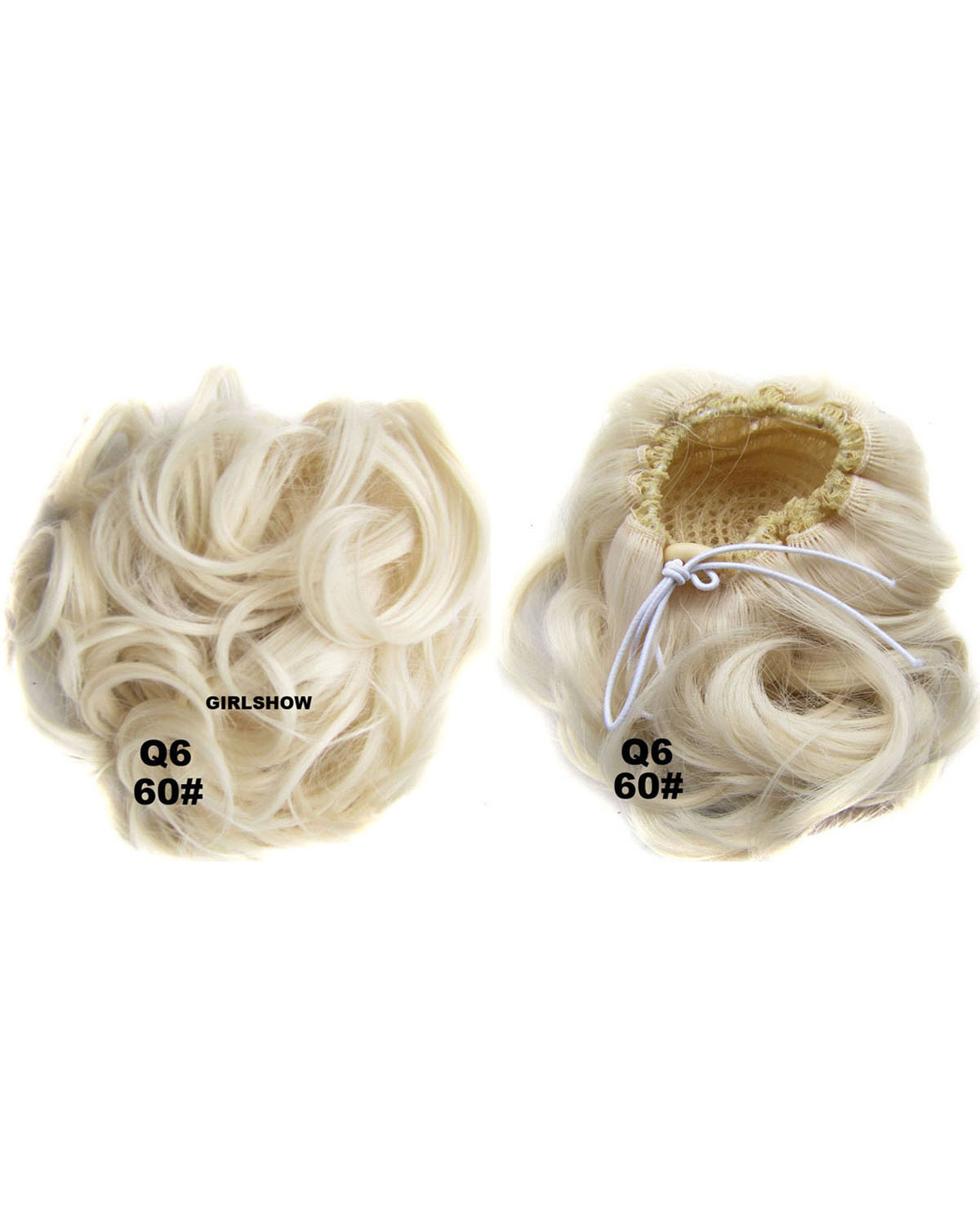 Ladies Graceful and Clean Curly and Short Hair Buns Drawstring Synthetic Hair Extension Bride Scrunchies 60#