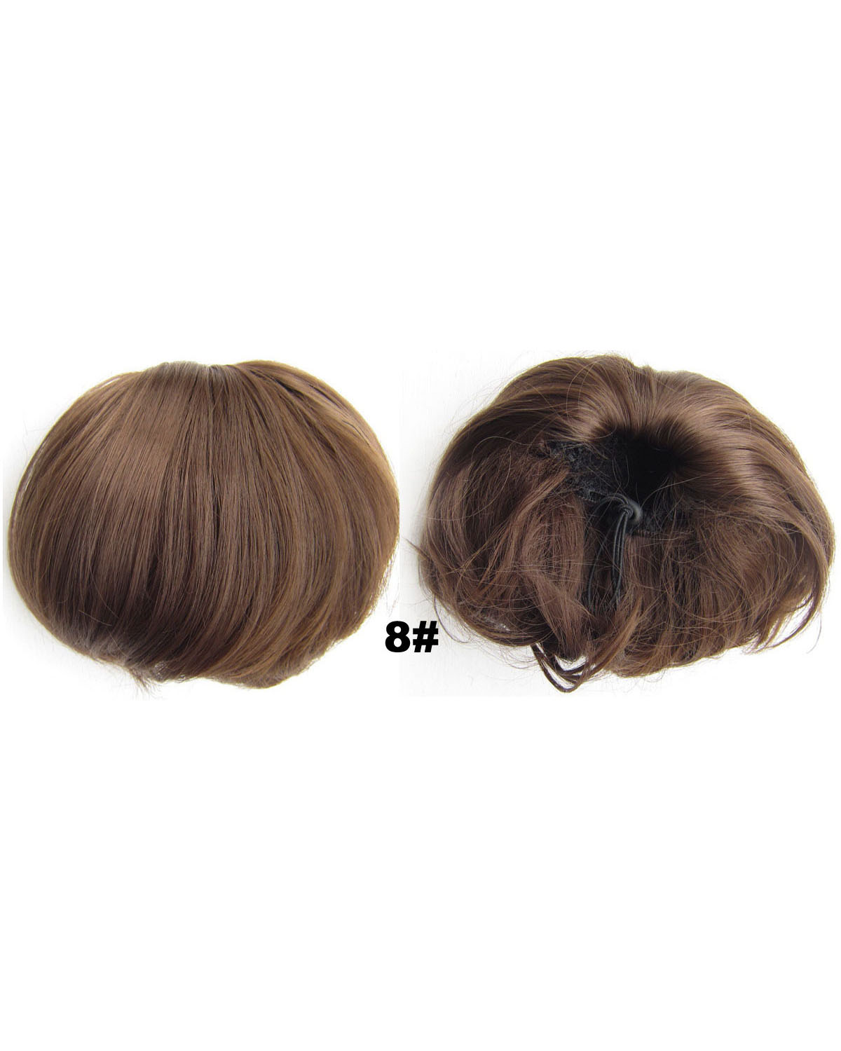 Ladies Great Straight Short Hair Buns Drawstring Synthetic Hair Extension Bride Scrunchies 8#