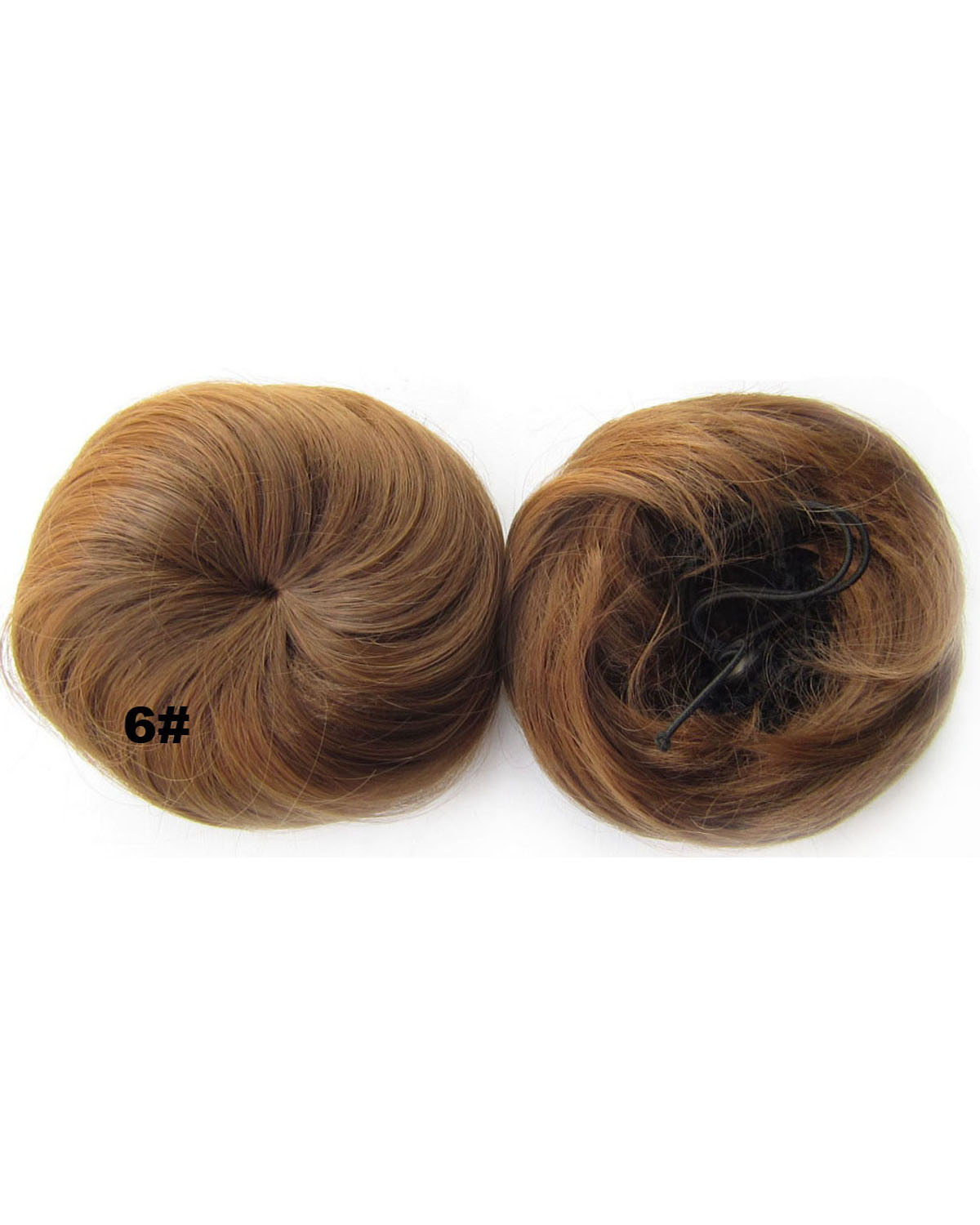 Ladies Lustrous Straight Short Hair Buns Drawstring Synthetic Hair Extension Bride Scrunchies 6#
